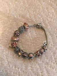 Genuine Pandora Bracelet with 12 Pink & Silver Cha