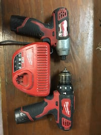 red and black Milwaukee cordless power drill and impact driver Garden City, 31408