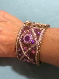Boho Purple, gold and brown cuff bangle bracelet unique Lititz, 17543