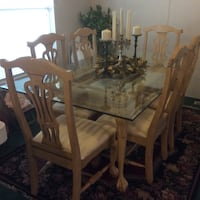 rectangular white wash wooden table with six chairs dining set El Centro, 92243