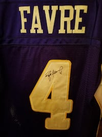 purple and yellow Favre 4 jersey shirt