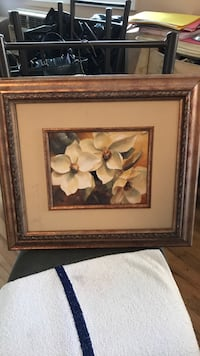 white petaled flower painting with brown wooden frame Amityville, 11701