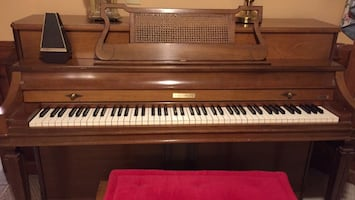 Baldwin piano plays beautifully. Metronome goes with it as well as the bench. Lovingly used. Will need pick up.