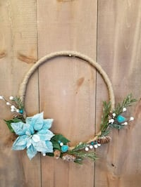 Icey blue velvet and burlap wreath Barrie, L4N 9A8