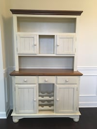brown and white wooden desk with hutch 9 mi