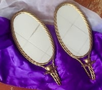 Gold plated mirror hanging candle holders