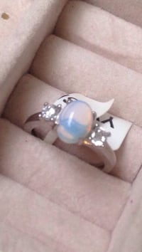 9.25 Silver Opal Ring Size 5