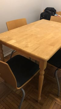 Rectangular brown wooden table with four chairs, 2 chairs Toronto, M4P 1V6