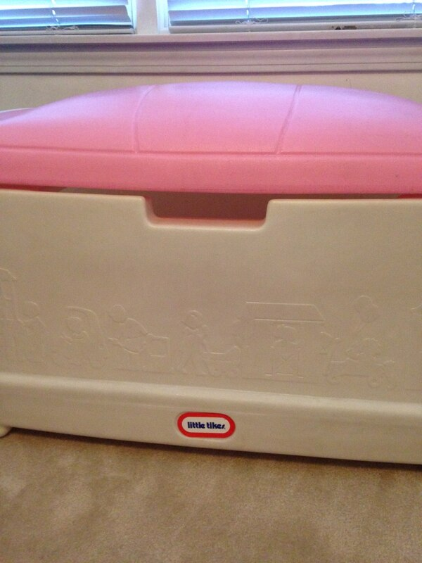 Carnival Toy Box Pink: Used White And Pink Little Tikes Toy Storage Box For Sale