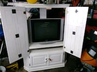 gray CRT TV with white wooden TV hutch Smithfield, 02917