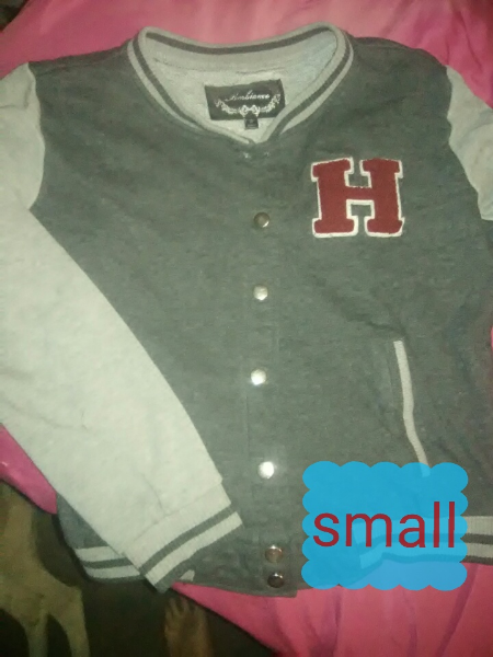 gray and red letterman jacket