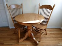 Amish Dinette Table With 2 High Back Chairs