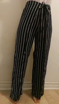 Striped pants with tie-up side panels