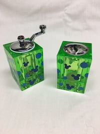 Rectangular green-and-blue acrylic pepper and salt shakers