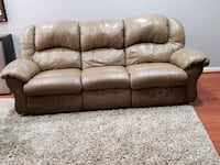 Brown leather 3-seat sofa Woodbine, 21797