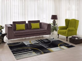 "Adonis Grey&Gold Abstract Area Rug for Living Room, Dining Area and Bedroom, Hallway Runner (6'5"" x 9'5"")"