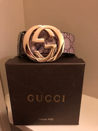 monogrammed brown and black Gucci leather belt with box Stephens City, 22655