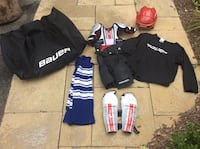 Hockey equipment size L & XL for ages 6-8