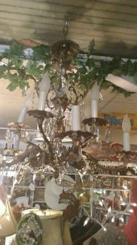 white and brown uplight chandelier McIntosh, 32664