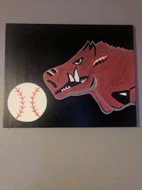 pig and white baseball  painting