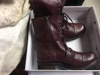 pair of brown leather side-zip cap-toe combat boots with box Glen Burnie, 21061