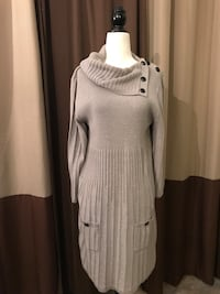 knitted gray cowl-neck long sleeve midi dress Hampton, 23666