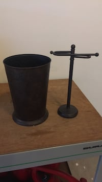 Small garbage can and matching small towel stand