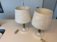 Two tabletop lamps with shades. 16 inches. Milk glass bases Chicago, 60605