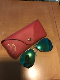 silver framed Ray-Ban aviator sunglasses with leather case