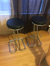 two black leather padded bar stools Chicago, 60649