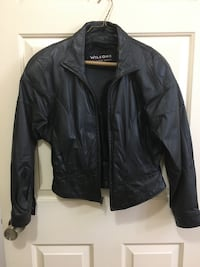 Wilson Size Small Ladies black leather bomber jacket w/ zip-out liner