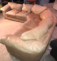 Tan Leather Curved 2 Piece Sectional Couch