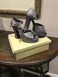 pair of gray leather peep-toe chunky heel ankle-strap sandals with box