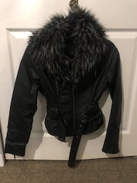 Faux fur leather jacket