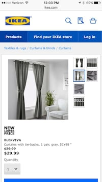 IKEA curtains- 2 pairs (total of 4 panels)