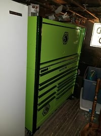green and yellow tool cabinet