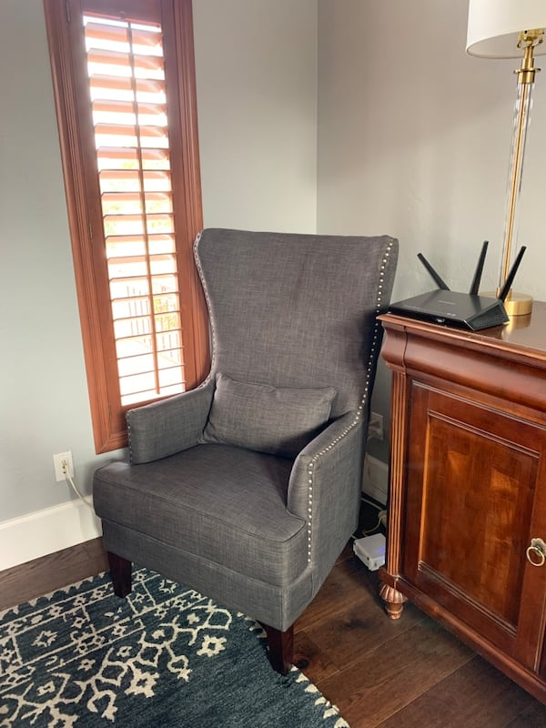 Set of chairs -gray upholstered with nailhead trim 25a699f5-a150-4050-8926-a2baf0638864