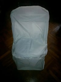 Ivory Round Folding Chair Covers (50 Count)