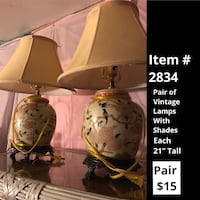 Pair of vintage lamps with shades Lanoka Harbor, 08734