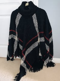 Plaid poncho with cowl neck $25!