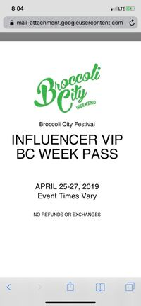Broccoli fest Vip weeknd passes for 200 a piece,or two for $350! Waldorf, 20601