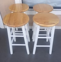 "New 24"" Beveled Seat Counter Stools, 4-Piece Set, Natural and White"