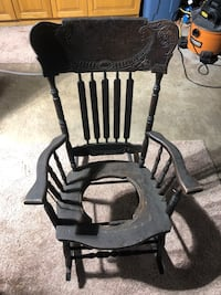Black wooden rocking chair. Very nice for someone wanting to restring it. Fenton, 48430