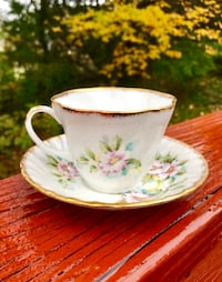 Stunning Antique Floral Regal Heritage Bone China Teacup and Saucer with Handpainted 24K Gold Falls Church, 22046