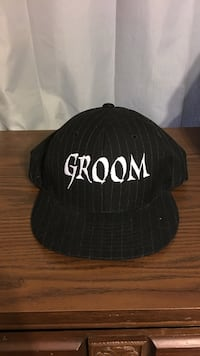 white and black Groom embroidered fitted cap Front Royal, 22630