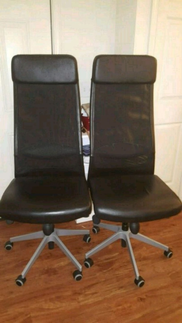Used 2 Ikea Markus High Back Leather And Mesh Chairs For In Atlanta Letgo