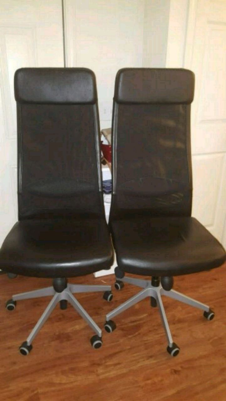 2 IKEA Markus High Back Leather And Mesh Chairs