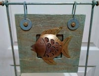 Hand Painted Shabby Light Blue/Rose Gold Fish Art Wilmington, 28411