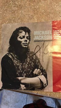 Signed 45RPM Stereo disc Michael Jackson I Just Can't Stop Loving You!! London