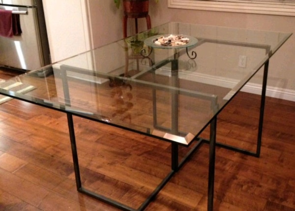 Used Custom Glass Table Top W Beveled Edge 36 X60 For Sale In